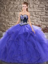 Purple Ball Gowns Beading and Embroidery 15th Birthday Dress Lace Up Tulle Sleeveless Floor Length