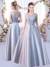 Stunning Lace Dama Dress Silver Lace Up Sleeveless Floor Length