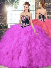 Sweetheart Sleeveless Lace Up 15 Quinceanera Dress Fuchsia Tulle