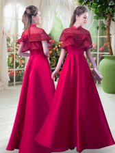 Vintage Red A-line Lace Dress for Prom Zipper Satin Short Sleeves Floor Length