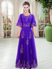 Charming Purple Half Sleeves Lace Floor Length Evening Dress