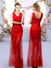 Column/Sheath Quinceanera Dama Dress Red V-neck Tulle Sleeveless Floor Length Lace Up