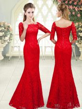 Red Prom and Party with Beading Scalloped 3 4 Length Sleeve Lace Up