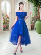 Edgy Royal Blue Short Sleeves Appliques High Low Homecoming Dress