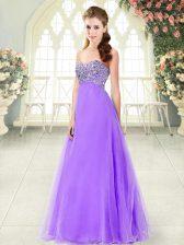 Wonderful Lavender Lace Up Sweetheart Beading Prom Dress Tulle Sleeveless