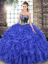 Custom Design Royal Blue Sweetheart Neckline Embroidery and Ruffles Quinceanera Dress Sleeveless Lace Up