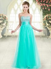 Hot Sale Aqua Blue Prom Dress Prom and Party with Beading Sweetheart Sleeveless Lace Up