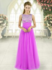 Stylish Lilac Empire Scoop Sleeveless Tulle Floor Length Side Zipper Beading Prom Gown