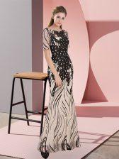 Comfortable Black Zipper Scoop Half Sleeves Floor Length Prom Dress Sequins