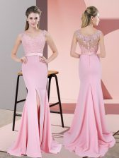 V-neck Sleeveless Dress for Prom Sweep Train Lace and Appliques Baby Pink Chiffon