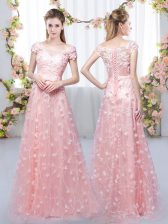 Pink Lace Up Off The Shoulder Appliques Quinceanera Court Dresses Tulle Cap Sleeves