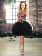 Black Scoop Lace Up Embroidery and Ruffles Prom Party Dress Sleeveless
