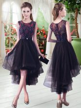 High Low Black Homecoming Dress Tulle Sleeveless Appliques
