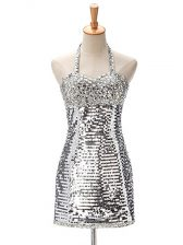 Silver Sequined Zipper Halter Top Sleeveless Mini Length Prom Evening Gown Ruching