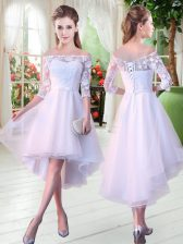 Classical Off The Shoulder Half Sleeves Prom Evening Gown High Low Appliques White Tulle