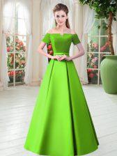Short Sleeves Lace Up Floor Length Belt Prom Dress