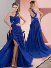 One Shoulder Sleeveless Sweep Train Backless Prom Gown Royal Blue Chiffon