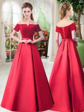 Sweet Red Satin Lace Up Off The Shoulder Short Sleeves Floor Length Prom Dress Belt