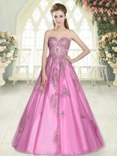 Appliques Evening Dress Rose Pink Lace Up Sleeveless Floor Length