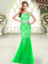 Modest Sleeveless Tulle Floor Length Zipper Homecoming Dress in Green with Beading and Lace