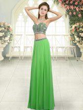 Sleeveless Backless Floor Length Beading Prom Dress