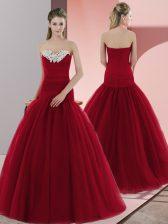 Sleeveless Beading Zipper Prom Gown
