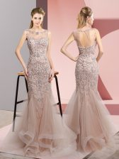 Tulle Sleeveless Floor Length Prom Party Dress and Beading