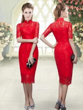 Clearance Tea Length Red Half Sleeves Beading and Lace