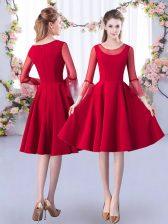 Noble Red Zipper Dama Dress Ruching 3 4 Length Sleeve Knee Length