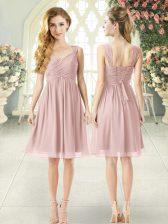 Pink Empire Ruching Evening Dress Lace Up Chiffon Sleeveless Knee Length