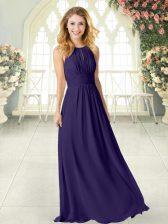 Purple Chiffon Zipper Scoop Sleeveless Floor Length Homecoming Dress Ruching
