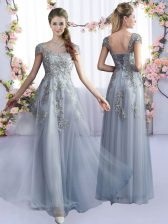 Grey Tulle Lace Up Scoop Cap Sleeves Floor Length Dama Dress for Quinceanera Lace