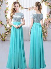 Aqua Blue Chiffon Zipper Quinceanera Court of Honor Dress Short Sleeves Floor Length Sequins