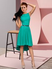Decent Scoop Sleeveless Lace Up Homecoming Dress Turquoise