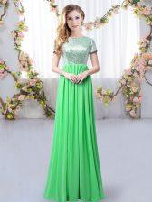 High Class Chiffon Scoop Short Sleeves Zipper Sequins Dama Dress in Green