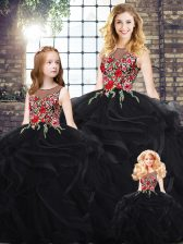 High End Sleeveless Floor Length Embroidery and Ruffles Zipper Vestidos de Quinceanera with Black