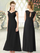 Flirting Straps Sleeveless Zipper Prom Dresses Black Chiffon