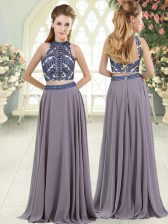 Grey Two Pieces Chiffon High-neck Sleeveless Beading Floor Length Backless Homecoming Dress