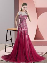 Red Homecoming Dress Tulle Sweep Train Sleeveless Beading and Appliques