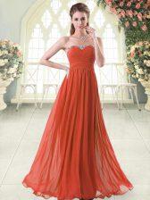 Sleeveless Zipper Floor Length Beading Homecoming Dress