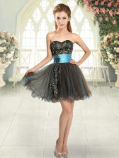 Tulle Sweetheart Sleeveless Lace Up Beading and Appliques Prom Party Dress in Brown