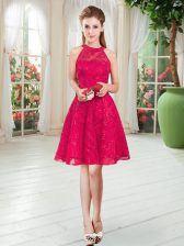 Customized Sleeveless Knee Length Zipper Prom Dresses in Red with Lace