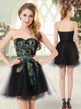 Black Sleeveless Mini Length Beading and Appliques Lace Up Prom Gown