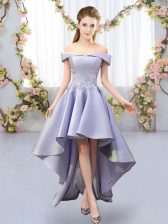 Lavender Off The Shoulder Neckline Appliques Vestidos de Damas Sleeveless Lace Up