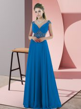 Blue Evening Dress Satin Sweep Train Sleeveless Beading
