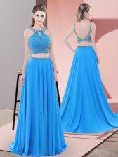 Blue Backless Straps Beading Dress for Prom Chiffon Sleeveless Sweep Train