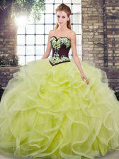 Exceptional Yellow Green Sleeveless Sweep Train Embroidery and Ruffles 15 Quinceanera Dress
