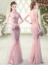 Pink Mermaid Sequins Prom Dress Backless Tulle Sleeveless Floor Length