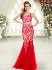 Fitting Red Mermaid Beading and Lace Prom Dress Zipper Tulle Sleeveless Floor Length