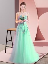 Sleeveless Floor Length Appliques Lace Up with Apple Green